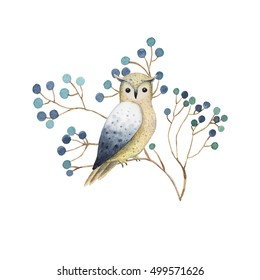 Owl on a branch. Watercolor illustration with bird. Animal painting for t-shirts,cards,prints,postcards.