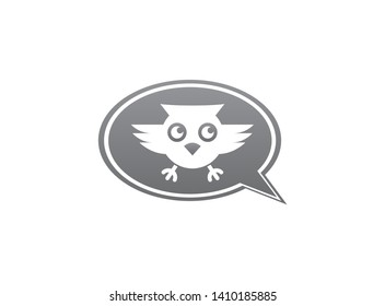 Owl open eyes and fly in a chat icon for logo design illustration