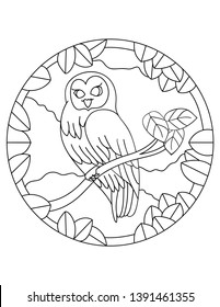 Owl pattern. Illustration of eagle-owl. Mandala with an animal. Owl in a circular frame. Coloring page for kids and adults. Predatory bird in nature. Night Hunter.