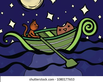 the owl and the pussycat went to sea in a beautiful pea green boat illustration