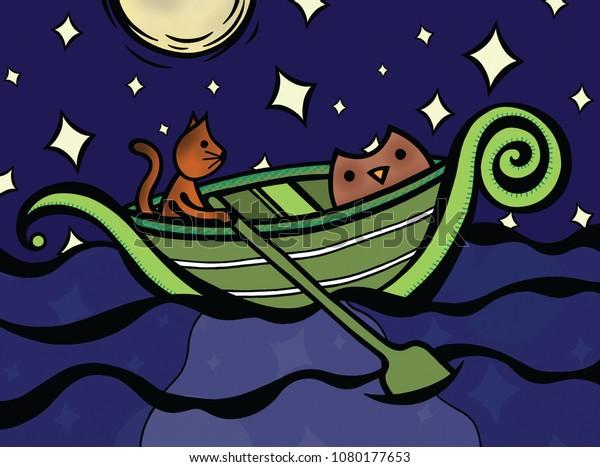 Owl Pussycat Went Sea Beautiful Pea Stock Illustration 1080177653