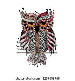 Owl in red and gray colors. Zentangl and dudling style. Adult coloring books, meditative coloring. Drawing by hand.