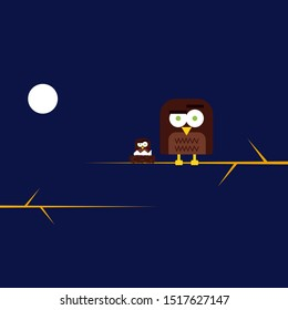 An owl stands on a tree branch at night with a picture of the moon and another tree branch and another small owl