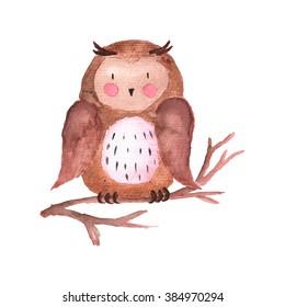 Owl Watercolor Illustration