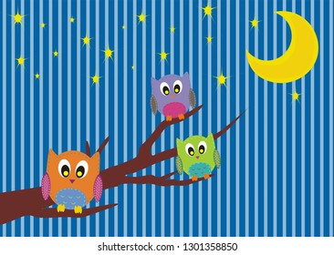 Owls standing on branch under starry sky