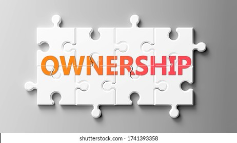Ownership complex like a puzzle - pictured as word Ownership on a puzzle pieces to show that Ownership can be difficult and needs cooperating pieces that fit together, 3d illustration