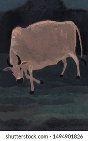 The Ox (Acrylic Painting). Hand Drawn Acrylic Painting On Canvas.
