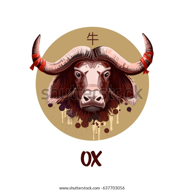 Ox chinese horoscope character isolated on white background. Symbol Of New Year 2021. Animal Cow in round circle with hieroglyphic sign, digital art illustration, greeting card design