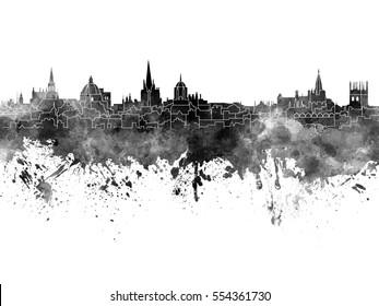 Oxford skyline in black watercolor
