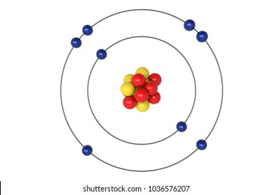 Oxygen Atom Bohr model with proton, neutron and electron. 3d illustration
