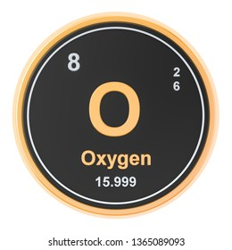 Oxygen O, element isolated on white background