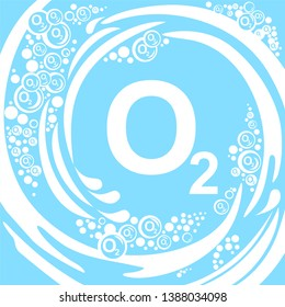 Oxygen O2. Flat Design With Abstract Oxygen. White bubbles Blue background. Environmental Concept. O2 (Oxygen). For Placards, Banners, Presentations, Reports, Card And Wallpaper.   illustration.