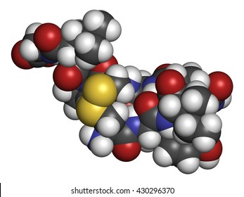 Oxytocin hormone molecule.  3D rendering. Atoms are represented as spheres with conventional color coding: hydrogen (white), carbon (grey), oxygen (red), nitrogen (blue), sulfur (yellow).