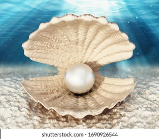 Oyster with a giant pearl standing on sea bed. 3D illustration.