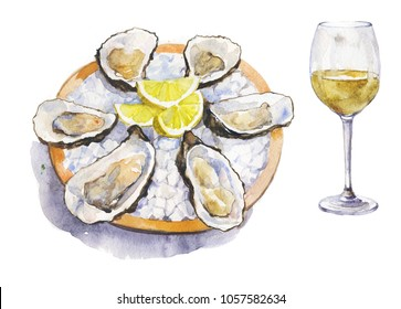 oysters plate on ice with lemon