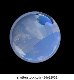 The Ozone hole, planet on black background.
