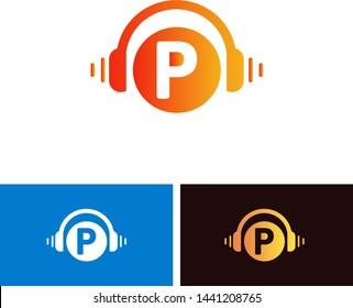 P Letter Music Logo Design