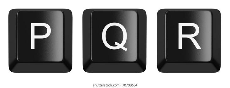 P, Q, R black computer keys alphabet isolated on white