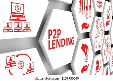 P2P LENDING concept cell background 3d illustration