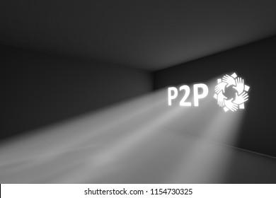 P2P rays volume light concept 3d illustration