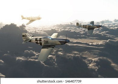 P51 vintage mustangs returning home from a mission high above the clouds. High resolution 3d model scene