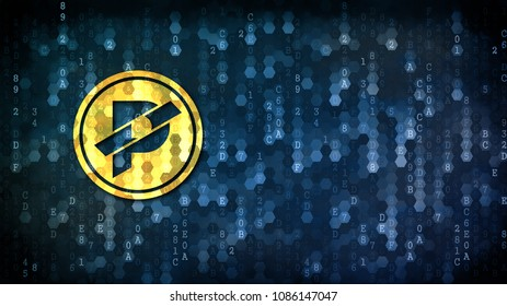 Paccoin - Graphic Symbol on Digital Background. Crypto Currency Concept.