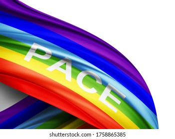 Pace flag of silk with copyspace for your text or images and white background -3D illustration