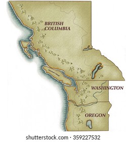 Pacific Coast map with British Columbia Canada Washington State & Oregon State & mountains all along the oastline
