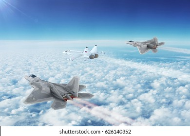 PACIFIC COAST, UNITED STATES - CIRCA APRIL 2017: Aerial view of Two U.S. Air Force Lockheed/Boeing F-22 Raptor planes Intercept Russia's MiG-29 Jet Fighter. 3D Illustration.