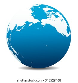 Pacific Rim North America, Canada, Siberia Russia and Hawaii Global World - Raster Version