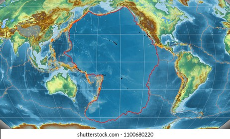 Pacific tectonic plate outlined on the global topographic relief map in the Kavrayskiy projection