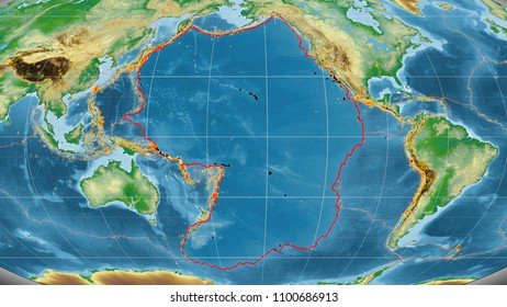 Pacific tectonic plate outlined on the global color physical map in the Mollweide projection