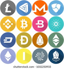 pack of 16 cryptocurency flat icons, image size 16383 x 300dpi, BitCoin,NEO, OmiseGO, Populous, Qtum, RaiBlocks, Ripple, Siacoin, Steem, Stellar, Storjcoin X, Stratis, Tether, TRON, VeChain, Zcash