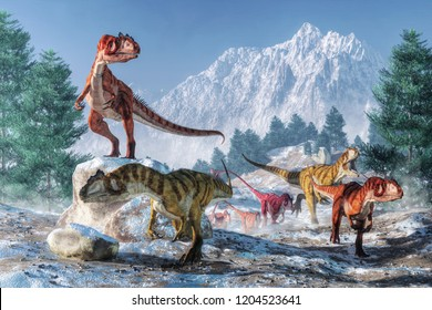 A pack of allosauruses are on the moved through a snowy landscape.  These dinosaurs are not used to cold weather.  So these predators have decided to move to greener lands. 3D Rendering