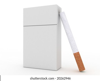 Pack of cigarettes and cigarette isolated on white background