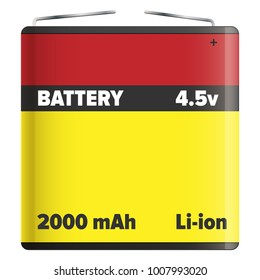 Pack li-ion or lithium-ion battery LIB with metal ends isolated on white.  illustration of rechargeable battery in flat design yellow and red colors in which lithium ions move during charge