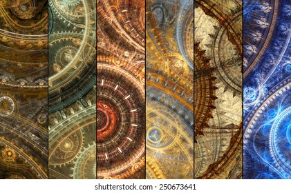 Pack of six mechanical and steampunk fantasy banners