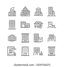 pack of vector icons with buildings