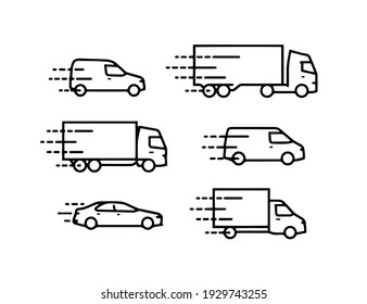 pack of vector icons with cars and trucks