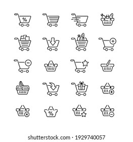 pack of vector icons with shopping basket