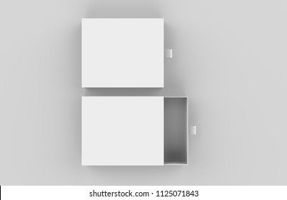 Package Cardboard Sliding drawer Box with ribbon pull on light grey background, 3d illustration