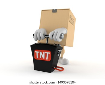 Package character with bomb detonator isolated on white background. 3d illustration