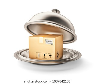 Package and parcels delivery service concept, cardboard box on silver dish under restaurant cloche, isolated on white, 3d illustration