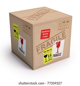 Package ready to send with messages of fragile.