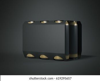 Package with six black beer cans isolated in dark background. 3d rendering