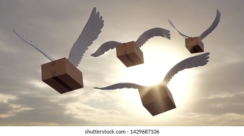 Package with wings. Shipments of orders to the whole world by air. 3D Illustration.
