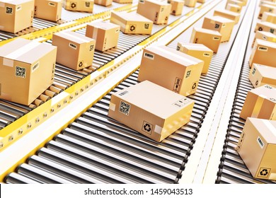Packages delivery, packaging service and parcels transportation system concept, cardboard boxes on a conveyor line in distribution warehouse, 3d illustration