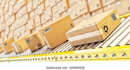 Paketzustellung, Verpackungsservice und Pakettransport-Systemkonzept, Kartons auf einer Transportlinie im Distributionslager, 3D-Illustration
