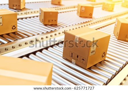 Packages delivery, packaging service and parcels transportation system concept, cardboard boxes on conveyor belt in warehouse, 3d illustration