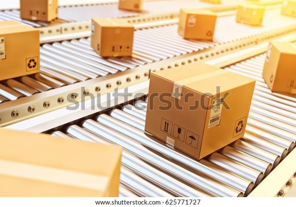 Packages delivery, packaging service and parcels transportation system concept, cardboard boxes on conveyor belt in warehouse, 3d illustration